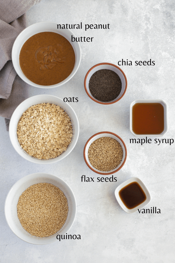 all the ingredients you need. Quinoa, oats, peanut butter, chia seeds, flax seeds, maple syrup and vanilla