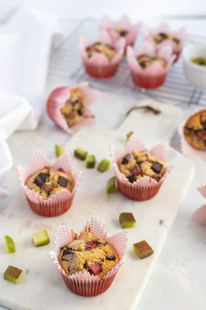 muffins on a white cutting board