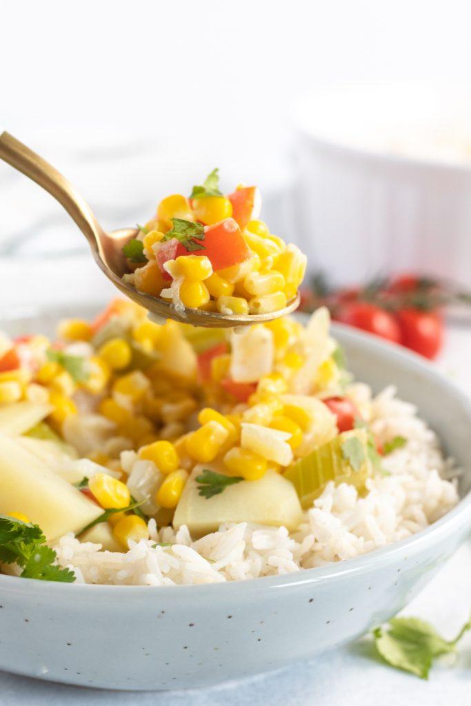 spoon with corn chowder
