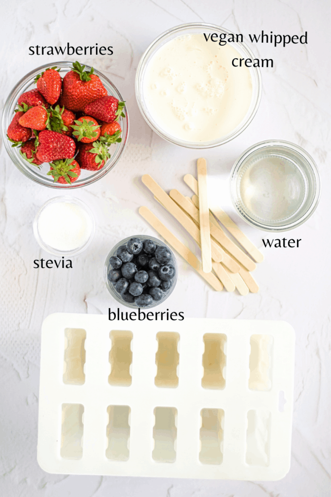all the ingredients you need to male these berries popsicles with the mold and the sticks