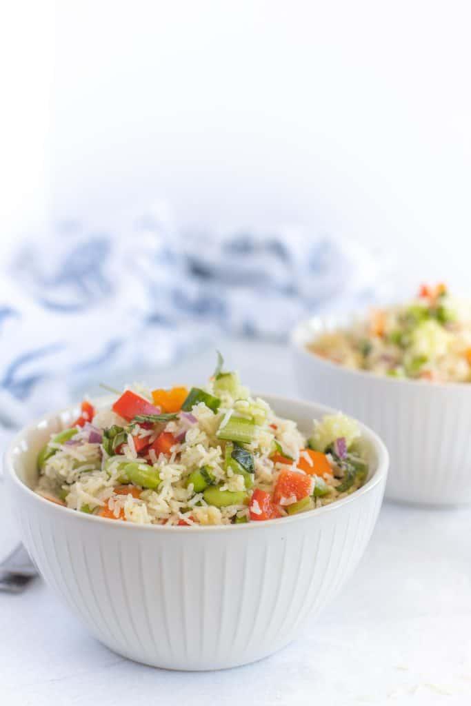 white bowl with basmati rice salad