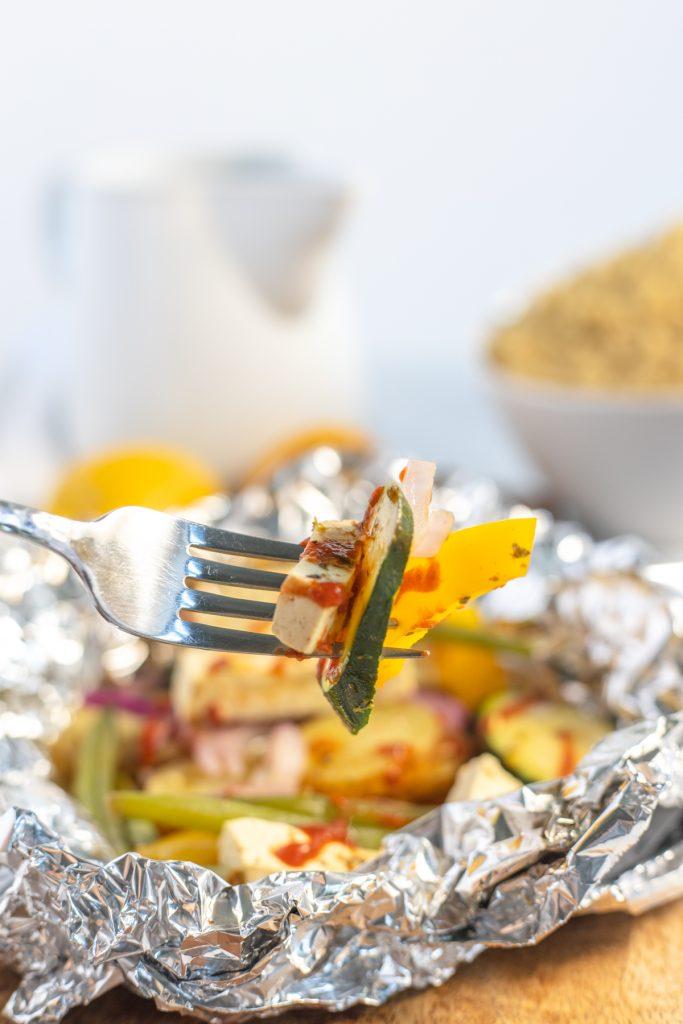 fork with tofu and veggies