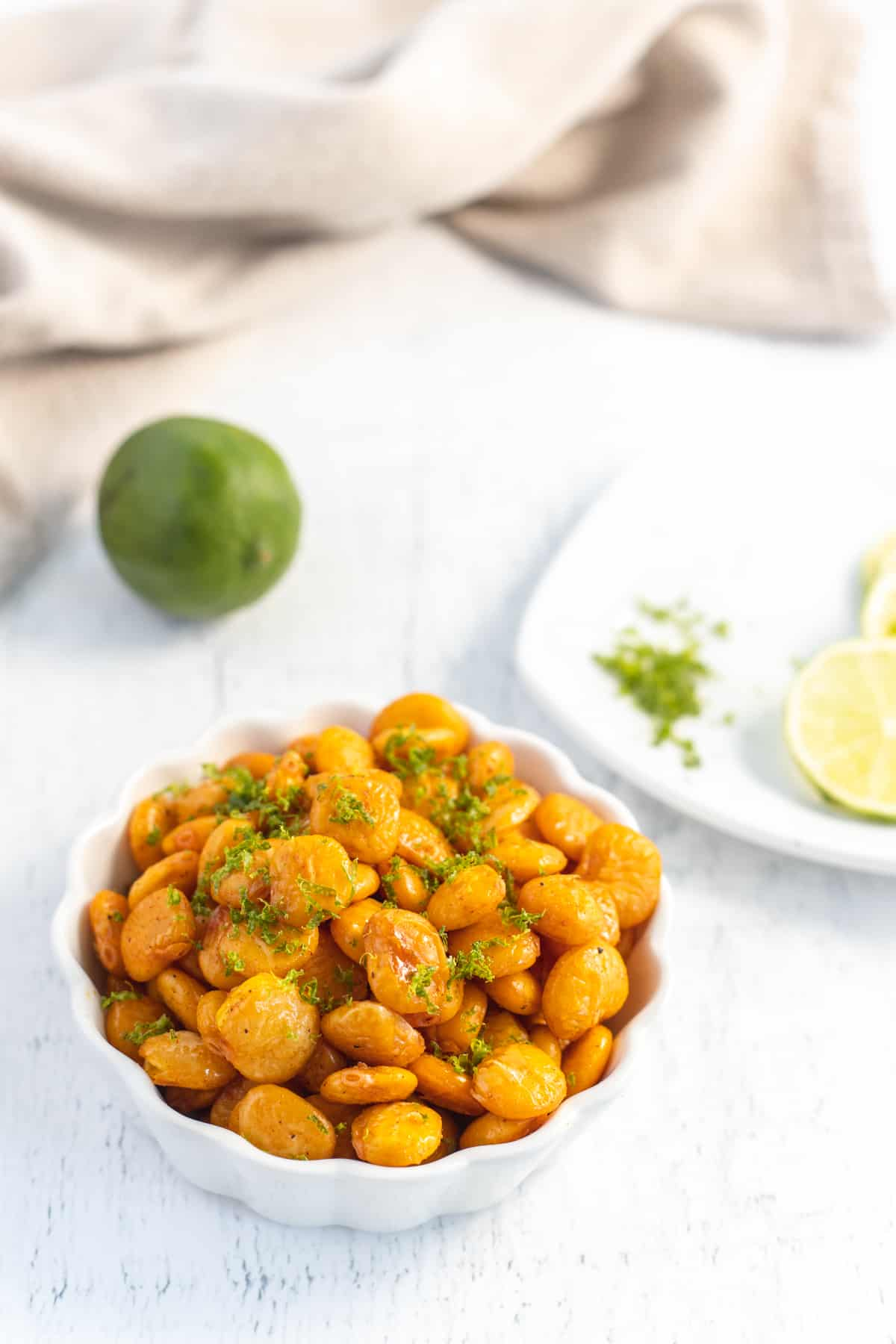 Cooked Lupini Beans with Lime Zest on Top