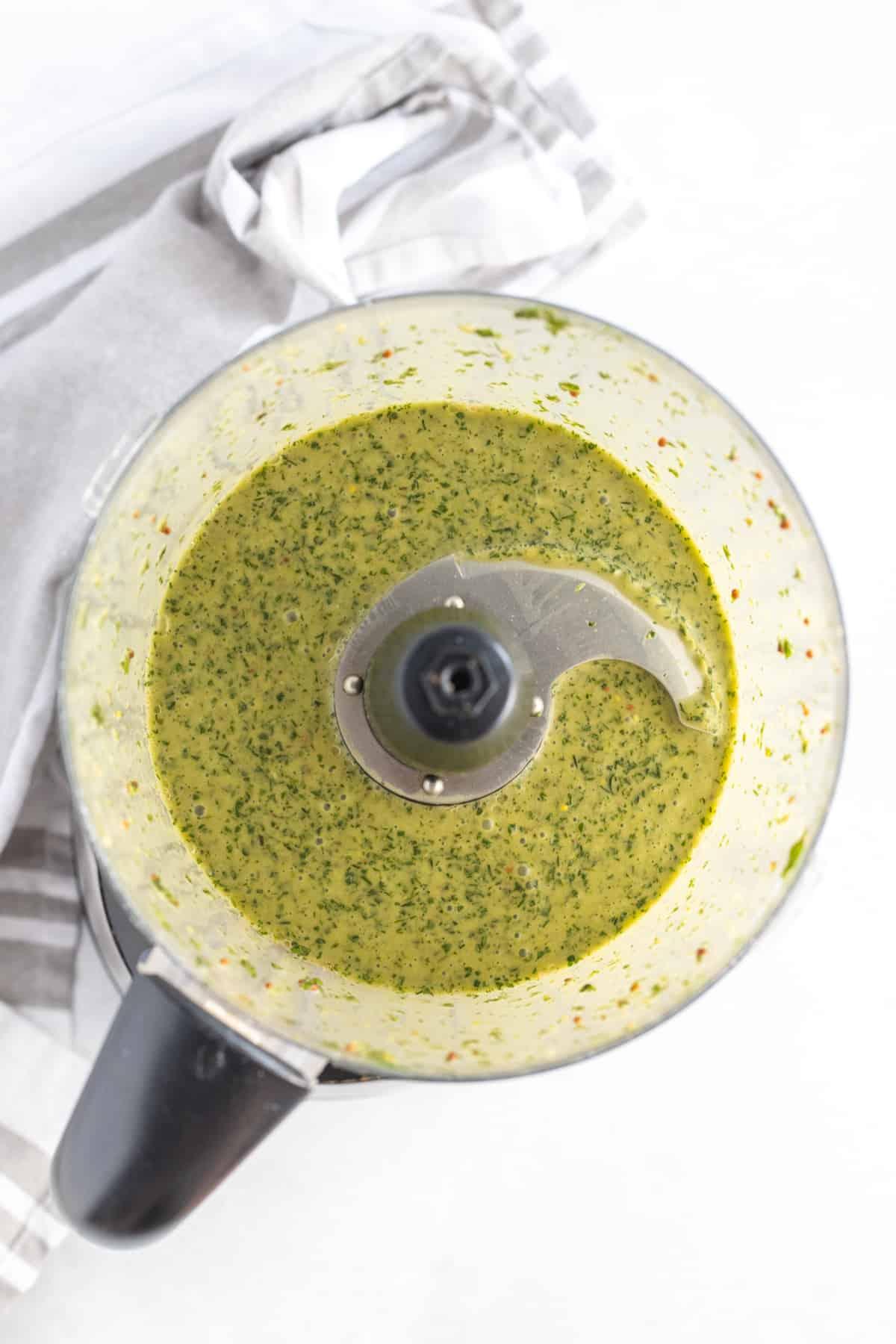 Fresh Herb Vinaigrette in the blender